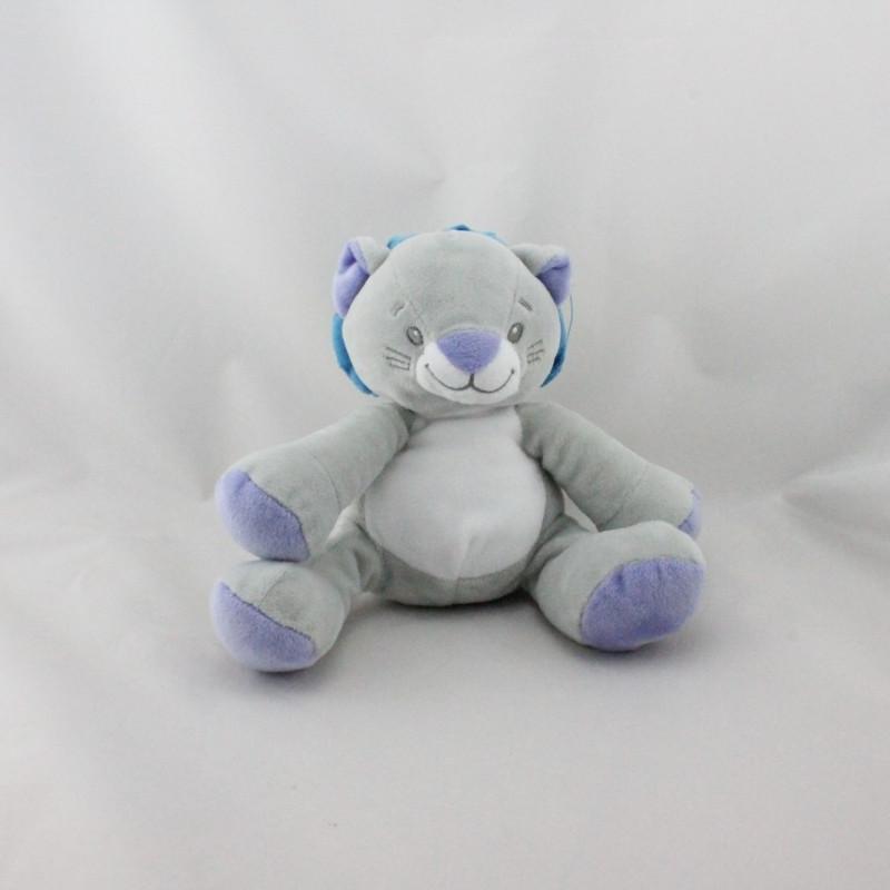Doudou lion gris bleu blanc LUC ET LEA
