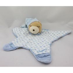 Doudou plat étoile ours endormi poissons bleu LAGOON KALOO