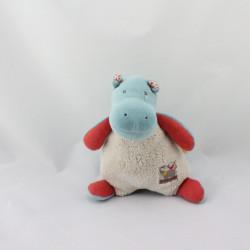 Doudou hippopotame bleu beige rouge Les Papoum MOULIN ROTY
