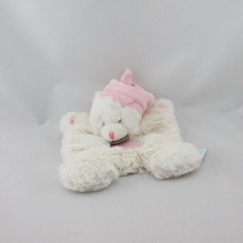 Doudou plat ours blanc rose BABY NAT