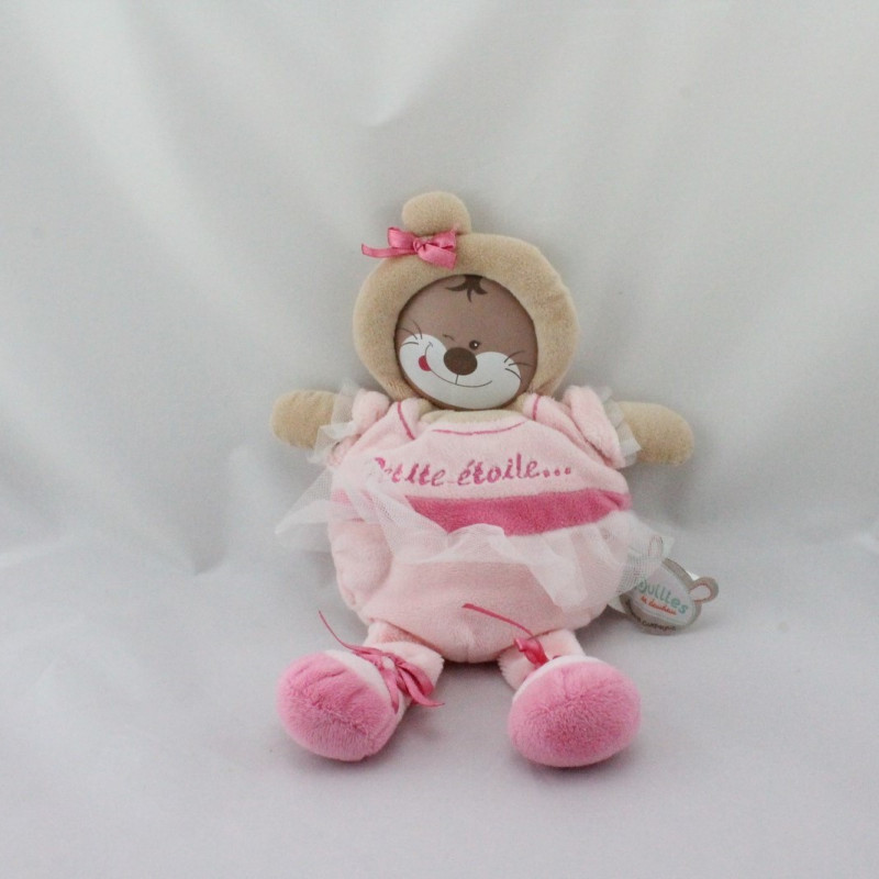 Doudou et compagnie Les Bouilles Petite Etoile rose beige tutu