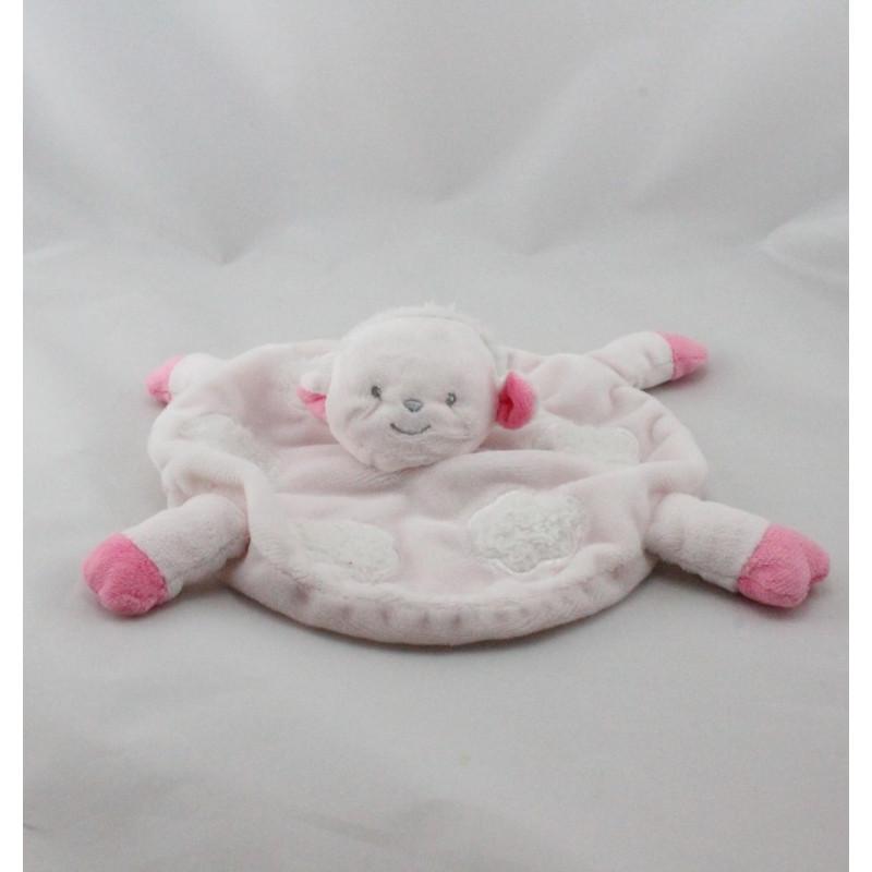 Doudou plat mouton rose blanc nuages KIMBALOO