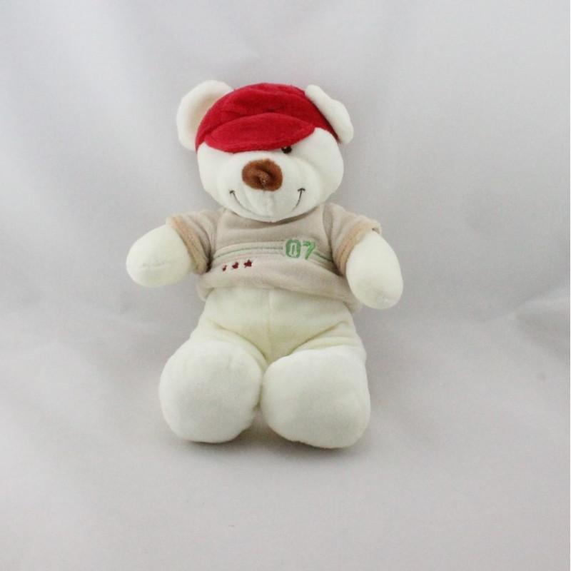 Doudou ours blanc beige rouge casquette VETIR