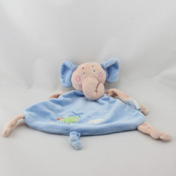 Doudou plat éléphant bleu beige LES BEBES D'ELYSEA