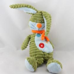 Doudou lapin vert bleu écharpe orange BENGY