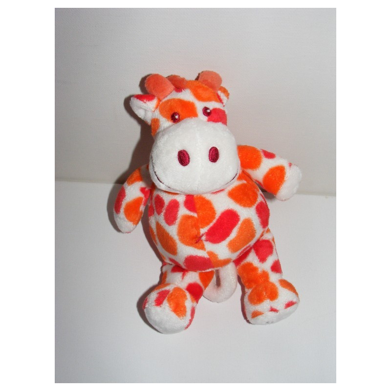Doudou plat girafe tachetée orange TIAMO COLLECTION