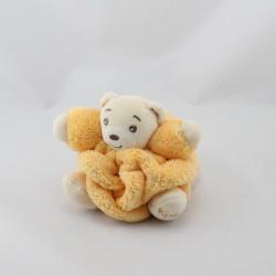 Doudou petit ours Plume jaune orange KALOO