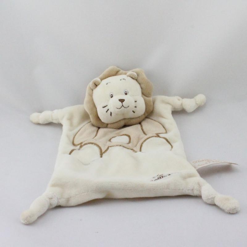 Doudou plat lion écru beige TIAMO COLLECTION