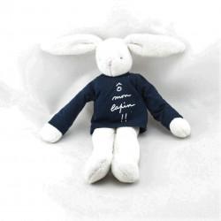 Doudou lapin blanc pull bleu O Mon Lapin Trousselier