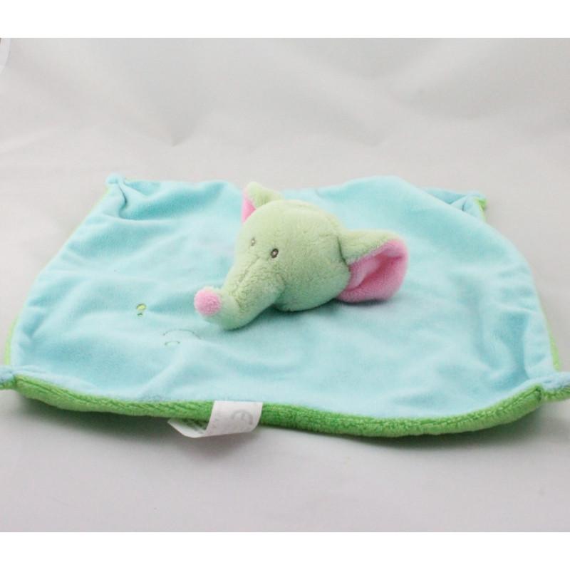 Doudou plat éléphant bleu vert rose MAXITA
