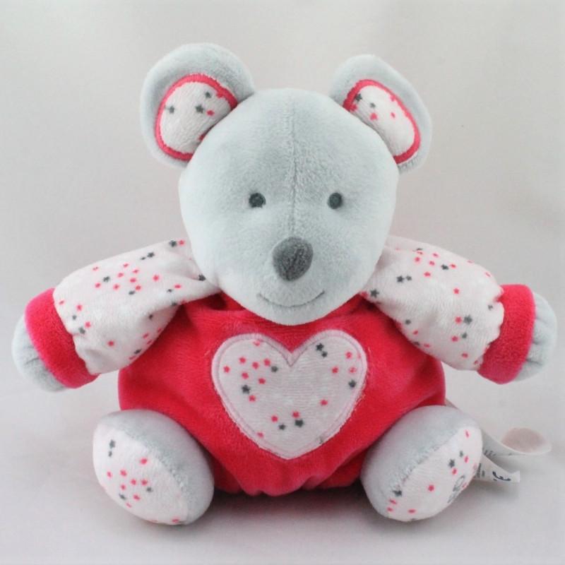 Doudou boule souris grise rose blanche étoiles OBAIBI