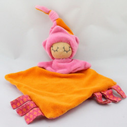 Doudou plat lutin poupée orange rose MA P'TITE FABRIQUE