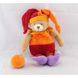 Doudou hochet ours arlequin rouge orange balle BABY NAT