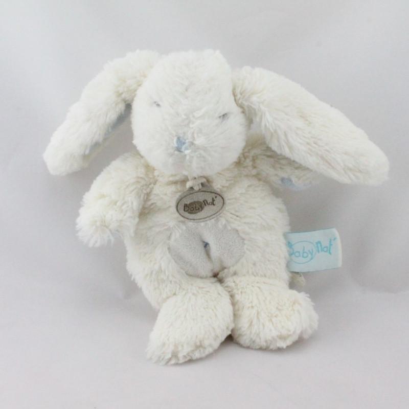 Doudou lapin blanc bleu BABY NAT