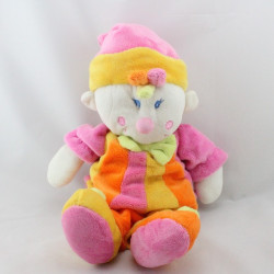 Doudou clown jaune orange rose vert MGM DODO D'AMOUR
