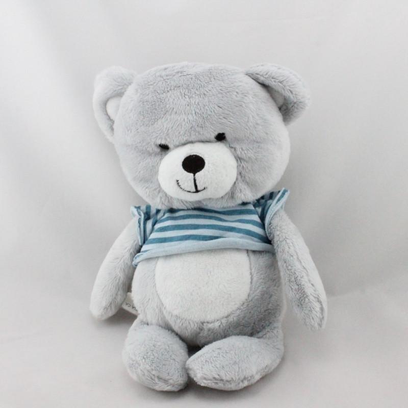 Doudou ours gris blanc pull bleu rayé ORCHESTRA