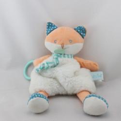 Doudou renard orange blanc bleu pois Poupi BABY NAT