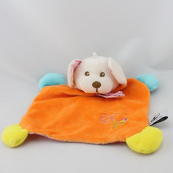 Doudou plat souris orange rose bleu jaune fleurs CP INTERNATIONAL