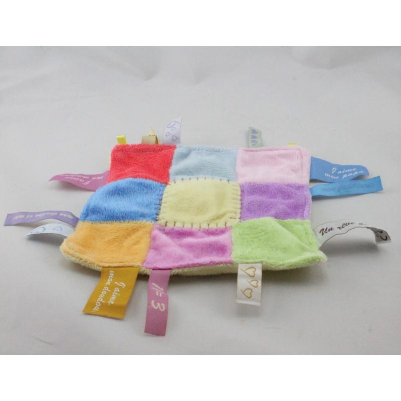 Doudou plat patchwork doudamour étiquettes rêve de bébé