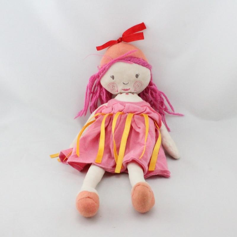 Doudou poupée Fille rose orange jaune MARESE