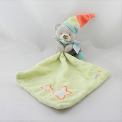 Doudou luminescent ours gris vert orange mouchoir étoiles BABY NAT