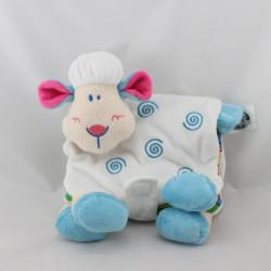 Doudou livre mouton blanc bleu BEBE DECOUVERTES LGRI