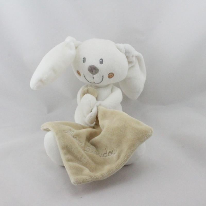 Doudou lapin blanc avec mouchoir beige POMMETTE
