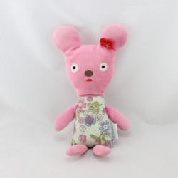 Doudou souris rose fleurs MINI LABO 3 SUISSES