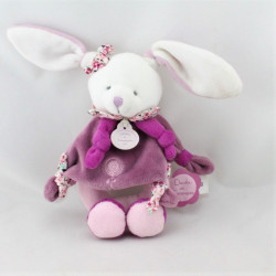Doudou et compagnie hochet lapin blanc rose prune cerise