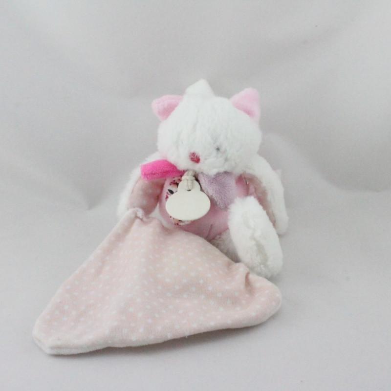 Doudou et compagnie chat blanc rose mouchoir Les Gommettes