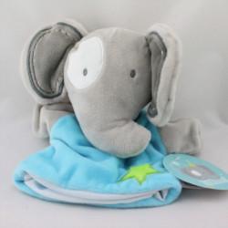 Doudou marionnette éléphant gris bleu étoile CMP