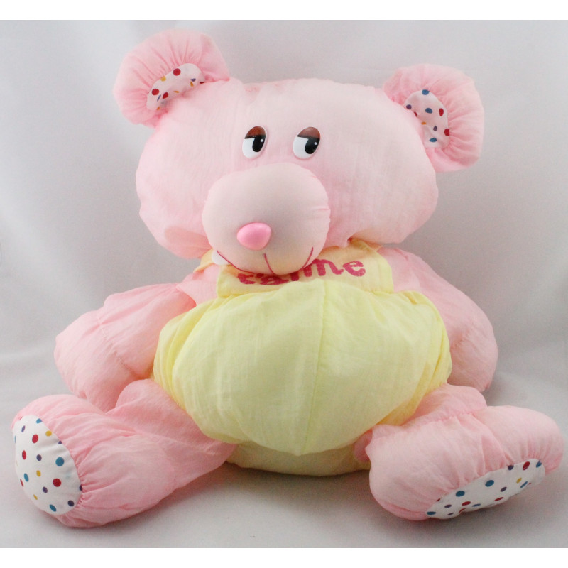 Peluche Puffalump ours rose jaune Je t'aime