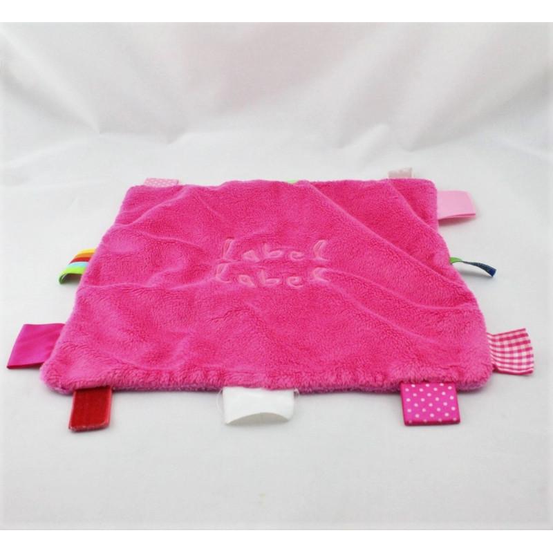 Doudou plat carré rose étiquette LABEL