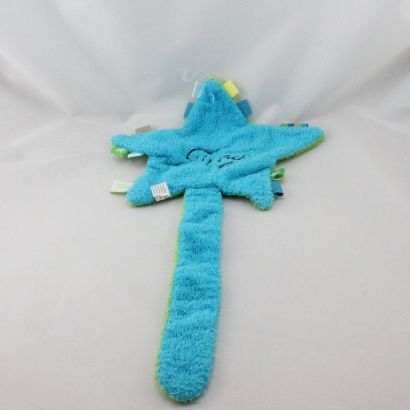 Doudou plat éponge étoile bleu vert FUNNIES