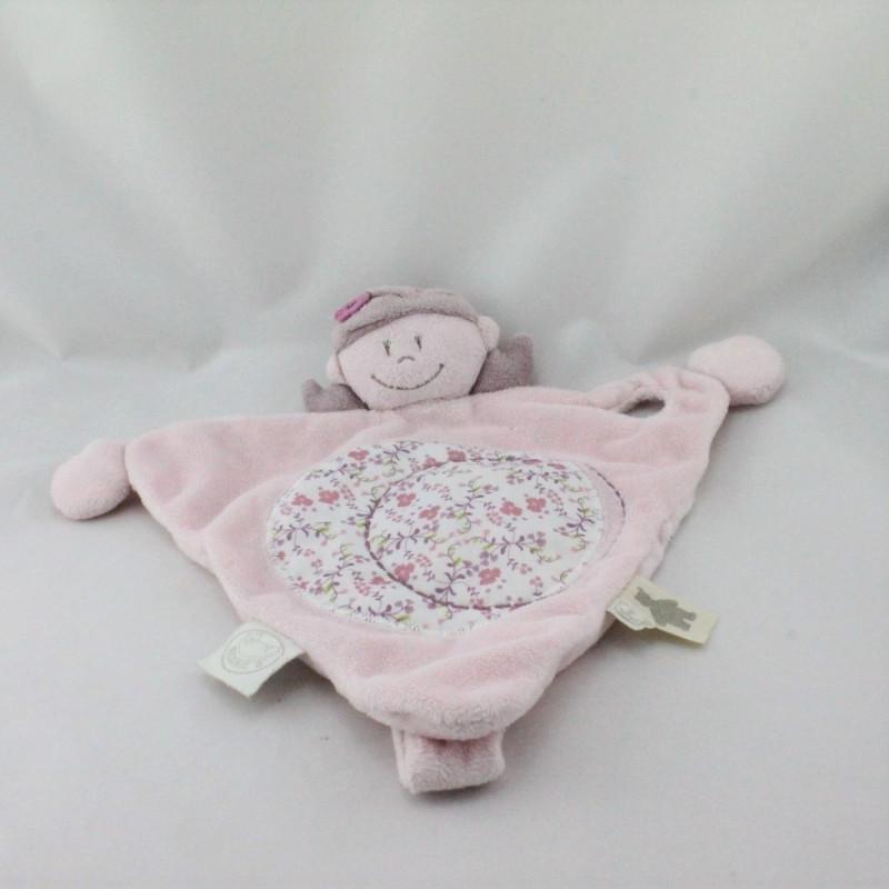 Doudou plat poupée fille rose prune fleurs Nina Kenza NOUKIE'S