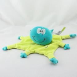 Doudou plat pieuvre vert bleu WOODY