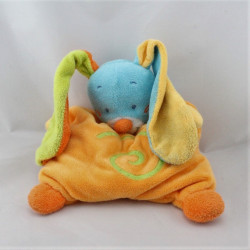 Doudou semi plat lapin bleu orange vert Funny Farmer NATTOU