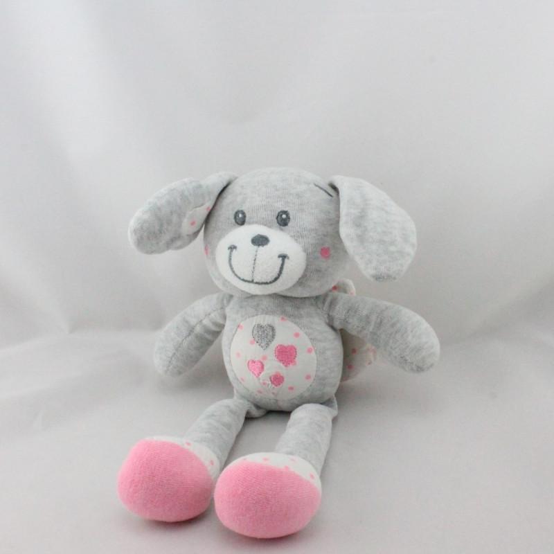 Doudou lapin gris blanc rose coeurs ailes TAPE A L'OEIL
