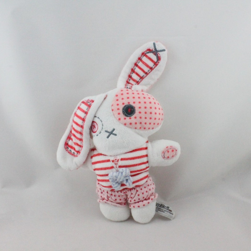 Doudou lapin blanc rose rayé pois TAPE A L'OEIL