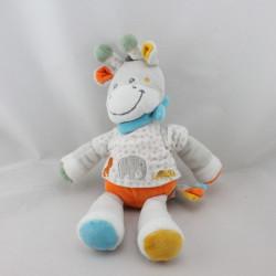 Doudou girafe gris blanc jaune orange bleu pois TEX