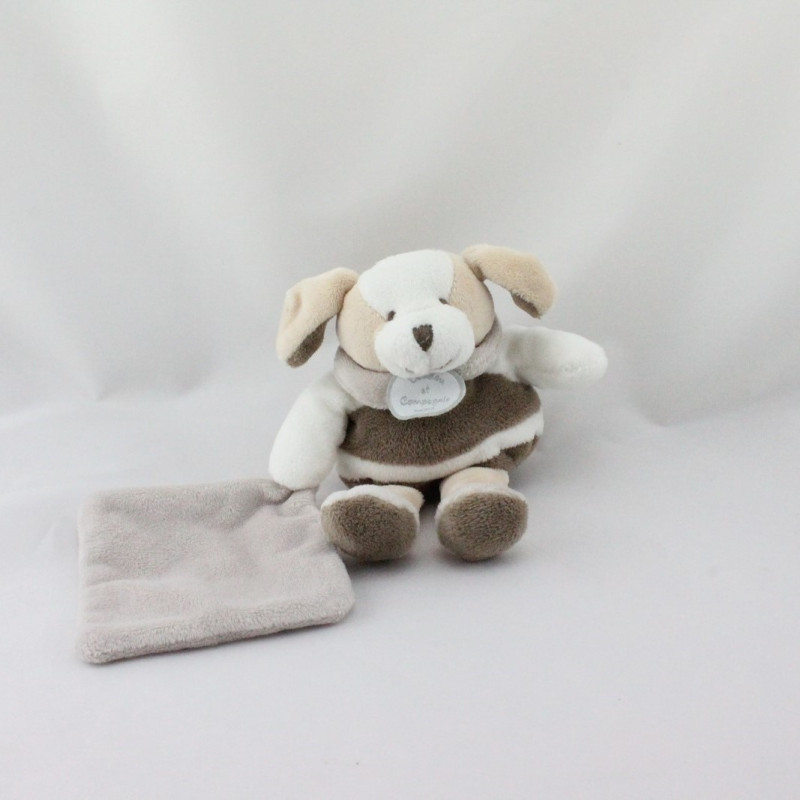 Doudou et compagnie chien blanc marron gris mouchoir