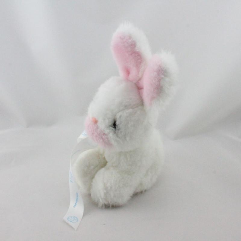 Ancienne peluche Doudou lapin blanc rose NOUNOURS