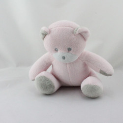 Doudou ours rose gris Musti Mustela