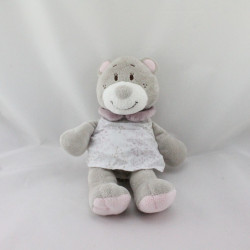 Doudou ours gris rose prune robe blanche NOUKIE'S