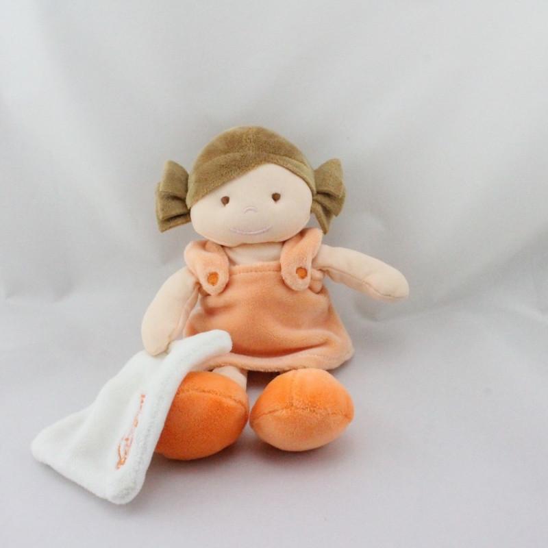 Doudou poupée fille orange mouchoir BABY NAT