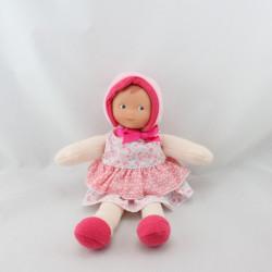 Doudou bébé poupée rose fleurs papillons COROLLE