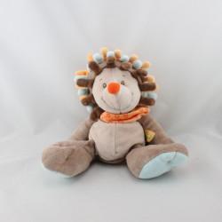 Doudou hérisson marron bleu orange NATTOU 30 cm