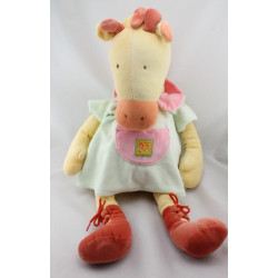 Grand Doudou girafe robe verte Les Loustics MOULIN ROTY