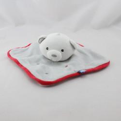 Doudou plat ours gris rouge blanc étoiles SUCRE D'ORGE