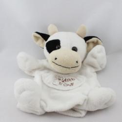 Doudou plat marionnette vache blanche noir HISTOIRE D'OURS